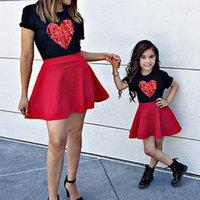 Momand cauderstessessummershortsleeveheartprintt-shirtkirtsetmammyandmeredfamilysetclothesgirlsskirts.