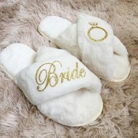 Other Event & Party Supplies Bridal Wedding Slippers With Faux Fur Ladies Warm Pantoufle Bachelorette Bridesmaid Favors Birthday Gift Custom