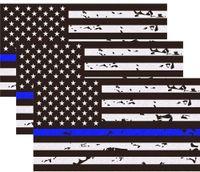 """반사 새로운 너덜 얇은 파란색 라인 미국 국기 데칼 스티커 5 """"x 2.7""""미국 미국 국기 데칼 스티커 비닐 윈도우 범퍼 테이프"""