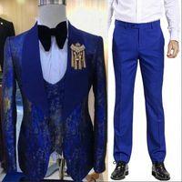 Customize tuxedo One Button Handsome Shawl Lapel Groom Tuxedos Men Suits Wedding Prom Dinner Man Blazer(Jacket+Pants+Tie+Vest) W966