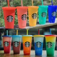 24 OZ Renk Değişimi Tumblers Plastik Dudak Ve Saman Ile Suyu Bardak Içme Sihirli Kahve Kupa Kostam Starbucks Renk Değiştirme Plastik Kupası