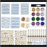 Ferramentas de artesanato DIY PIN Casting Mold Set Kit Inclui 30 Peças de Cabelo Clipe 5 Sile Jóias Epóxi Resina Hairpin Moldes HWA3487 Iyxoi Lvmbu