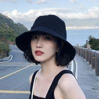 Wide Brim Hats 2021 Summer Outdoor Casual Bucket Hat Solid Cotton Women Sun
