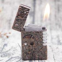 Flambeau crâne flint libre pompier brillant ping lumineux son turbo broye de meule de broyeur briquet butane butane cuisson de cigarette h0909