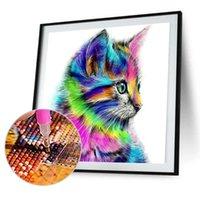 Matkap Parlak 5d DIY Elmas Boyama Renkli Kedi Boyama 3D Hayvan Çapraz Dikiş Mozaik Elmas Nakış İğne El Sanatları Q0805