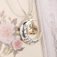 مجوهرات القلب أنا أحبك إلى القمر والعودة أمي قلادة قلادة الأم عيد الأم هدية بالجملة مجوهرات عيد الحب هدية ZZC5563