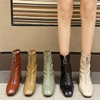 Boots Women Leather Fetish Stripper Short Ankle Female Booties Lady Chunky Low 5cm High Heels Green Quality Shoes