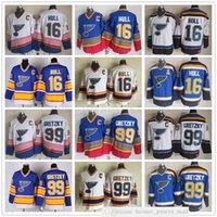 Vintage ccm cosido hockey sobre hielo 99 wayne gretzky jerseys 16 brett hull joe mullen jersey bordado c parche hombre blanco azul
