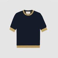 2021 Yeni Kadın Panelli Mektup Baskı Kollu Kısa Kadın Tees Olgun Ins Trendy Kadın Örmek Lady Üst Bahar Yaz Moda T-shirt Giysileri