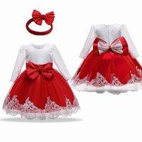 Девушка платья 3M-2Y цветок кружева большой лук красное девушка платье лето осень полного рукава для ребенка grils первая день рождения одежда принцесса