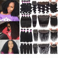 Бразильские человеческие волосы для волос с закрытием глубокой волны вьющиеся девственные пакеты волос с 13x4 кружева фронтальные волосы волосы с 360 кружева