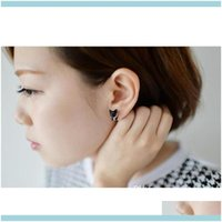 Jewelry3D Cute Black Cat Piercing Stud Earrings For Women Girls And Men Pearl Channel Earring Fashion Jewelry Whol Drop Delivery 2021 Phsve