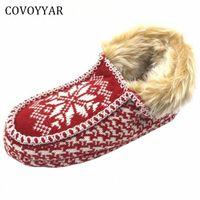 Covoyyar 2017 따뜻한 크리스마스 여성 슬리퍼 새해 겨울 컴포트 홈 신발 빨간색 실내 면화 신발 플러스 사이즈 40 WSL509 C0KX #