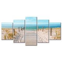 Senza cornice 5 pz Modern Landscape Paesaggio Wall Art Decorazione Domestica Pittura Tela Stampe Immagini Paesaggio marittimo con spiaggia (senza telaio) 625 S2