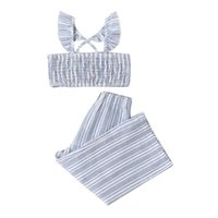 Clothing Sets Toddler Kids Girls Casual 2pcs Clothes Set Boat Neck Ruffles Sleeveless Pleated Crop Tops + Elastic Waist Pants Children Suits