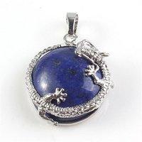 Commercio all'ingrosso 10 pezzi argento placcato drago wrap lapis lazuli blu turchese mezzo palla perlina vintage pendente pendente gioielli di fascino 298 T2