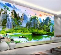 Wallpapers Custom Po Wallpaper For Walls 3 D Rural Mural Alpine Flowing Forest HD TV Background Wall Oil Painting Style Paper