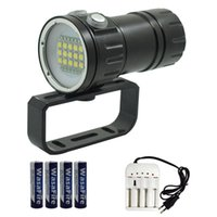 Lanternas Torches Wasafire 15 * L2 + 6 * Vermelho + 6 * Blue Light Mergulho Subaquático 100M LED Pogal Pogador Vídeo Dive Torch Lamp 18650 Scuba Lant