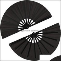 Wydarzenie Świąteczne dostawy Home GardenPieces Duży Fan Fan Nylon Cloth Handheld Chinese Tai Chi Czarna dekoracja Fold Hand for Party Favor