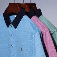 Quanbo Lato Przyjazdy Bawełniane Mężczyźni Polo Oddychająca Koszula Odznaka Piersie Topy Wysokiej Jakości Biznes Dorywczo