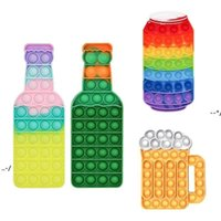 New Push Fidget Toys Silicone Rainbow Beers Bottle Beer Cup Cola Bottles Push Bubble Tabletop Puzzle Party Game Holiday Gifts NHA8172
