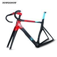 Nowgonow Femmes / Hommes Cyclisme Cadre de Vélo Fibre de carbone Bleu / Black BB92 44MM Racing Team Ensemble incluant guidon de selle SEATPOST