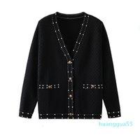 fashion Women designers womens sweater womens pull de luxe design cardigan button sweater small fragrance retro fashion runway sweater