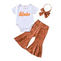 kids Clothing Sets girls outfits infant toddler Letter print Tops+Leopard Flared pants+Headband 3pcs set summer baby Clothes Z4345