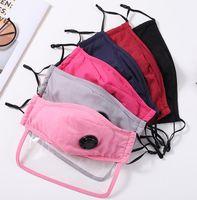 Mode Unisex Erwachsene Baumwoll-Bildschirmschild-Maske Gesichtsmaske mit Atemventil PM2.5 Anti-staubwaschbare Gewebe-Mundmaske mit Filtern