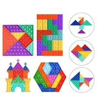 Descompresión fidget juguete Tangram, castillo hexagonal DIY DIY Hecho a mano Control Pioneer para niños juguetes educativos para niños