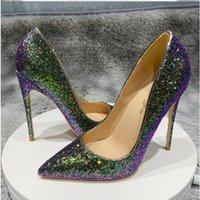 Pompe punta a punta Donne scarpe tacco alto con tacco a spillo Slip-on Slip-on Party da sposa 8cm 10 cm 12 cm Bottom Big Size 45 Scarpe da sposa scintillante verde