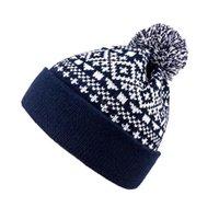 Mössor Stickad Jacquard Wool Ball Cap Korean Ladies Acrylic Woolen Winter Hat