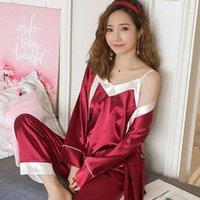 Pijamas de mujer Set Pijamas de cuatro piezas Cómoda ropa de dormir transpirable Robes de seda retro1