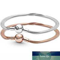 Original Rose Moments Multi Snake Chain Ball Clasp Bracelet Fit 925 Sterling Silver Bead Charm Bangle Diy Europe Jewelry Factory price expert design Quality Latest
