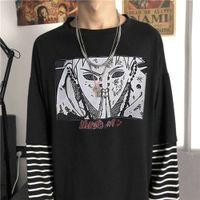 Japonya Karikatür Naruto T-shirt Hip Hop Baskılı Sonbahar Patckwort Tshirt Streetwear Komik Erkekler Çizgili Punk Yüksek Sokak T Shirt X1214