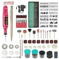 Nail Art Kits 141pcs Electric Drill Buffer Kit 220V Micro Engraver Pen Mini DIY Vibro Engraving Tool Portable Polish Machine(EU Plug)