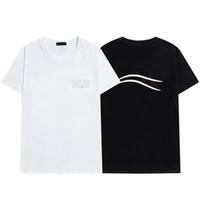 2021 Mens T-Shirt Brief Streifen Druck Rundhals Kurzarm T-Shirt Mode Hobby Designer Schwarzweiß-S-2XL