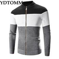 2021 YDTOMM Мужская свитер Новая осень зима высокого качества толстые теплые кардиган мужские на молнии полосатые свитеры мужчины My3s