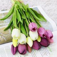 Flores decorativas guirnaldas 5 unids / manojo tulipanes reales tulipanes flor artificial para el hogar decoración de boda de novia mano falsa flores suave látex