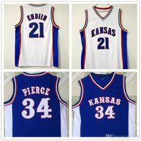 NCAA KANSAS JAYHAWK 34 بول بيرس 22 جويل zingiid كرة السلة الفانيلة قمصان كلية أزرق أزرق مخيط بقع مطرزة