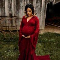 Kadın V Yaka Trompet Uzun Dantel Süper Uzun Kuyruklu Hamile kadın Yüzer Tulum Uzun Etek Fotoğraf Elbise 1126