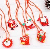 LED Christmas Light Up Flashing Necklace Children Kids Glow up-Cartoon Santa Claus Pendant Party Xmas Dress Decorations Gifts OWA8724