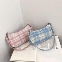 Evening Bags Plaid Print Underarm Bag For Women 2021 Fashion Cloth Ladies Shoulder Daily Clutch Casual Totes Pouch Handbags