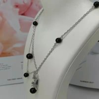 Necklace Black Pearl Women Pearl Chain Rhinestone Orbit Necklace Clavicle Chain Pearl Choker Necklaces for Women Jewelry Gift