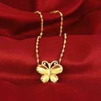 24k Yellow Butterfly Necklaces for Women Wedding Engagement Birthday Women's Pure Gold Necklace Chain Jewelry Gifts 2021