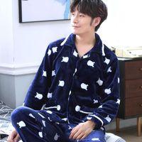 Мужские пижамы сексуальные толстые плещеные спящие одежды набор человек вышивка пижама набор длинные рубашки труслится горячая теплая фланель зима домашняя одежда большой размер