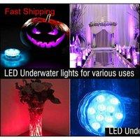 10 LED أضواء مقبض الغوص الأضواء الحوض الملونة تحت الماء مضاد للماء تسليط الضوء على التحكم عن بعد 7 ألوان وا qylcoc bdenet