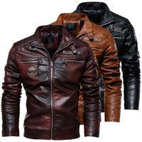 Mens vestes en cuir PU Manteaux vêtements hiver chaud plus velours vierge veste de motocyclette moderne down