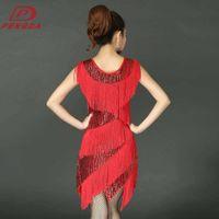 adult Casual Dresses drs dance show costume Sequin sling tassel Latin practice skirt 2265