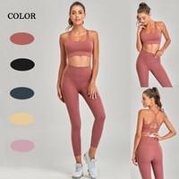 Ropa deportiva desnuda traje mujer gimnasio entrenamiento de vestir para las mujeres al por mayor deporte deporte sujetador alta cintura leggings fitness conjunto de yoga inconsútil